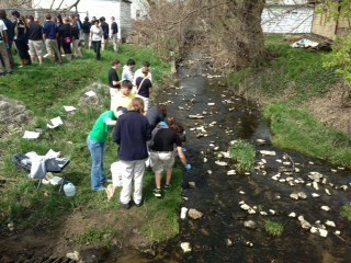 Students from Riley High School and the University of Notre Dame Take Water Samples in Bowman Creek